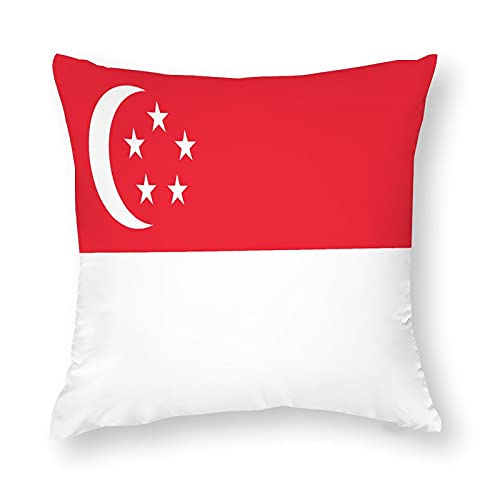 Kissenbezug mit Singapur-Flagge, quadratisch, dekorativer Kissenbezug für Sofa, Couch, Zuhause, Schlafzimmer, drinnen & draußen, niedlicher Kissenbezug 45,7 x 45,7 cm