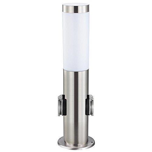 Grafner® Garten Edelstahl Standleuchte mit 2 Steckdosen Standlampe Gartenlampe