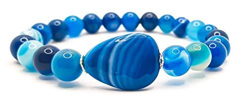 Pulsera elástica para hombre y mujer, con piedras preciosas naturales de 8 mm, para reiki, idea de regalo de cumpleaños, original difusor de energía para curar el equilibrio Agata Blu Goccia