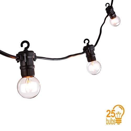 Sunix® catena luminosa lampadina, luci della stringa con 25 G40 Bulbi, Luce Calda Bianca, 7,62 Metri Decorativa da Interni e Esterni, anche per Festa, Giardino, Natale, Halloween, Matrimonio
