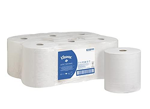 Rollo de toallas de papel Kleenex Ultra 6238 - Toallas secamanos de papel de 2 capas - 6 rollos x 180 m de toallas secamanos blancas (1080 m en total)