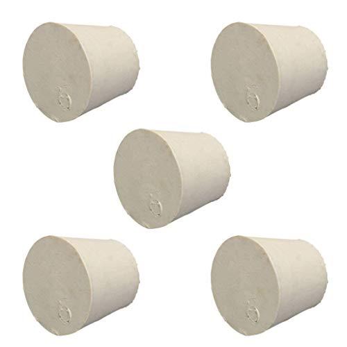 NO LOGO XFC-Rohr, 5 PC weiße Farbe Labor Kappe Spunde Schlauch Flasche verjüngt Sich Gummistopfen AST Stopper Bondes Flask Konische Rohrmassiv Dichtungen (Farbe : Weiß, Größe : 37x29x30mm)