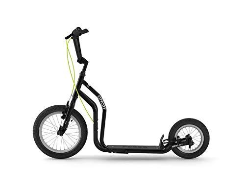 Yedoo City Tretroller - ab 140 cm Körperhöhe, bis 120 kg, mit Luftreifen 16/12 - Cityroller für Erwachsene und Kinder mit verstellbaren Lenker und Ständer, schwarz