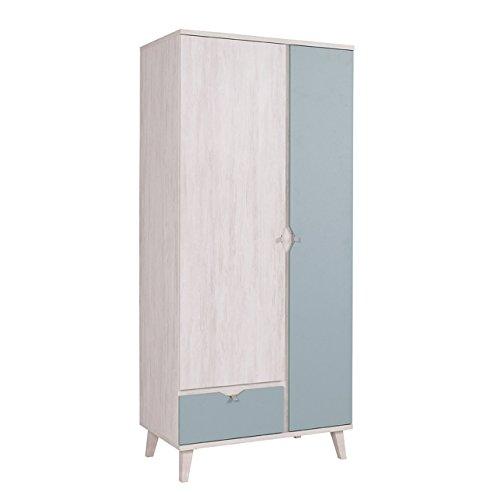 Mirjan24 Drehtürenschrank Memone TM07 mit 2 Türen und Schublade, Kleiderschrank mit Kleiderstange, Elegantes Schrank für Jugendzimmer, Schlafzimmer (Eiche Weiß/Dusk Blue)