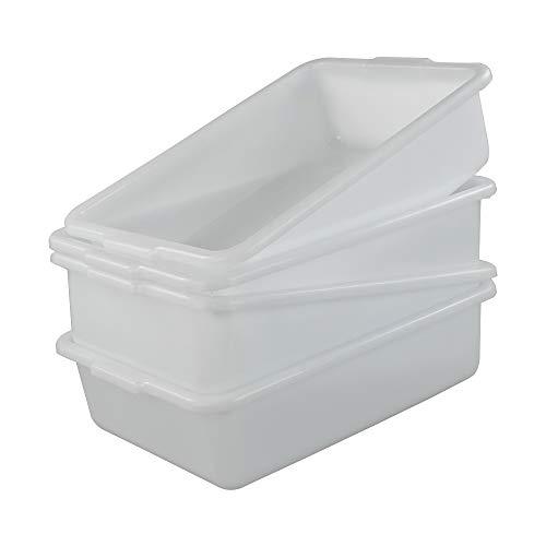 Asking Juego de 4 cuencos de lavado de plástico / caja de autobús comercial, bandeja de almacenamiento poco profunda, color blanco, 13 L