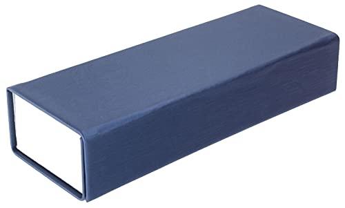 Funda plegable azul oscuro con práctico cierre magnético y funda brillante.