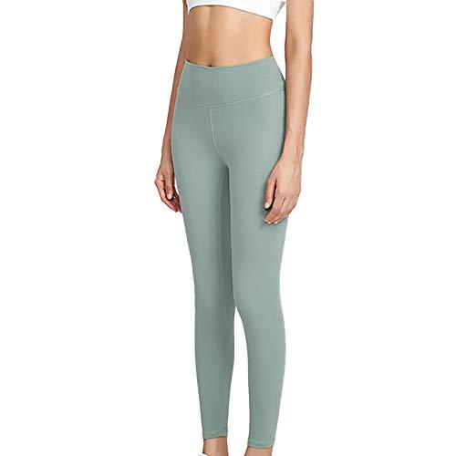 MedusaABCZeus Womens Athletic Pants Workout Yoga,Women Yoga Leggings,Nude Buttocks 9-Point Yoga Pants Women-Light Green_S