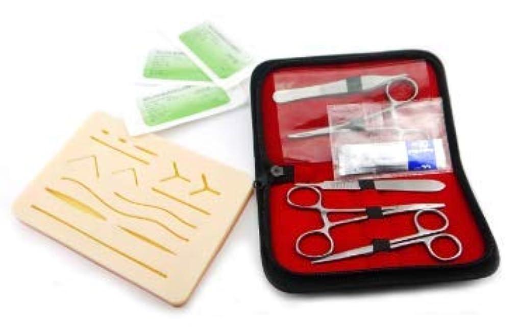 不良ロバコック縫合トレーニングキット 8点セット 糸付き縫合針 練習用人工皮膚(シリコン)付き