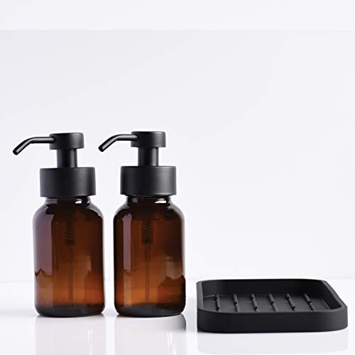 Foaming Hand Soap and Non-Foaming Dish Soap Dispensers - Set of 2 Bottles and 1 Silicone Tray - Amber Glass