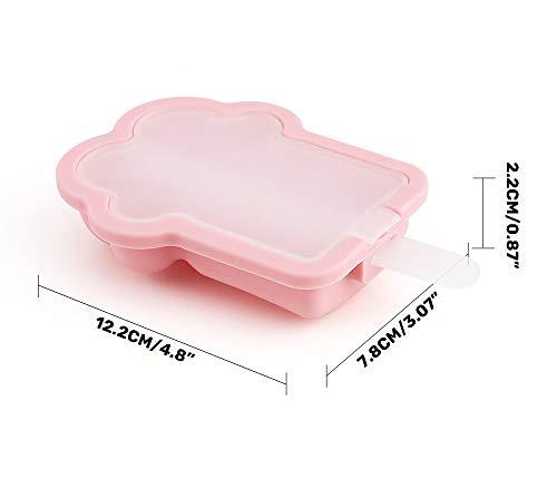 製氷皿Nuovoware製氷ツール高品質シリコン製耐冷耐熱猫爪状アイスポップトレーアイスキャンデー型アイスポップモールドDIYモールド製菓冷凍トレイネコの爪型氷格取出し簡単アイス容器氷モールド製氷器PPスティック付き4個セット2Pink+2BLue