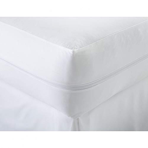 Fire Retardant Cotton Blend Zipped Non Allergenic Anti Dust Mite Anti Bacterial Machine Washable Mattress Protector (Single)