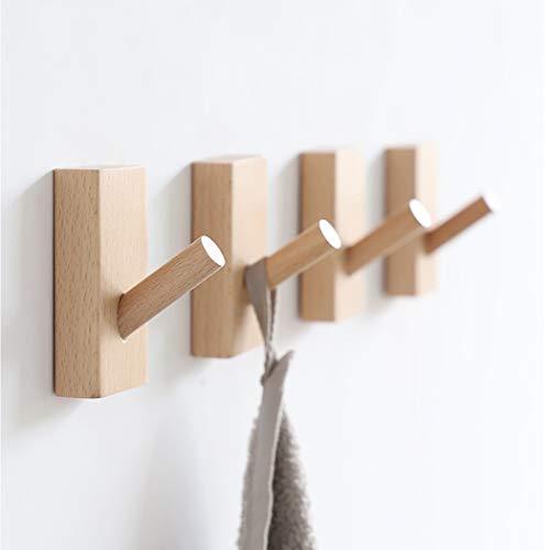 Weisika Naturholz Wandhaken 6 Stück Holz Haken Hölzern Kleiderbügel Kleiderhaken Kit Garderobenhaken für Handtuchhalter Mehrzweck Dekoration im Schlafzimmer Wohnzimmer Flure