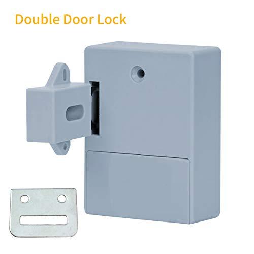 Walmeck Smart Sensor Cabinet Lock Adhesive verborgen ladevergrendeling schoenenkast kledingkast badkamer inductief digitale blokkering voor dubbel openende deur wit T3