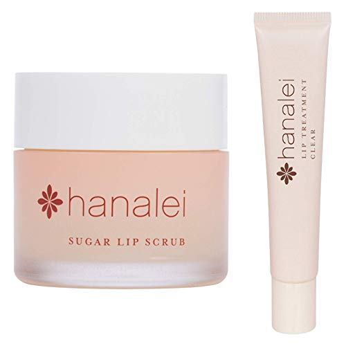 Hanalei Sugar Lip Scrub and Lip Treatment (Clear) Bundle, Made with Raw Cane Sugar and Real Hawaiian Kukui Nut Oil (Cruelty free, Paraben free)