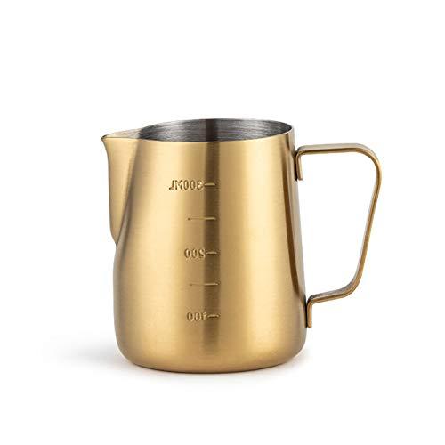 Jarra Leche Leche de espuma de láctea de gran capacidad Pote de doble escala de acero inoxidable Olecranon Fancy Coffee Pot Creamer Pitcher, Utensilios de café Adecuados para cualquier lugar Jarrita L