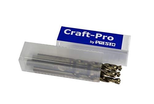 CraftPro By Presto 016914.0P Cobalt High Speed Steel Split Point Jobber Drill, DIN 338, 4.00mm Cutting Diameter, 75mm Length, 43mm Flute Length, Pack of 5