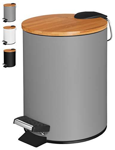VMbathrooms 3L Kosmetikeimer in edlem grauem Design/Tretmülleimer mit Absenkautomatik (Soft Close) / Eleganter Eimer fürs Bad mit Innenbehälter und Bambus-Holzdeckel