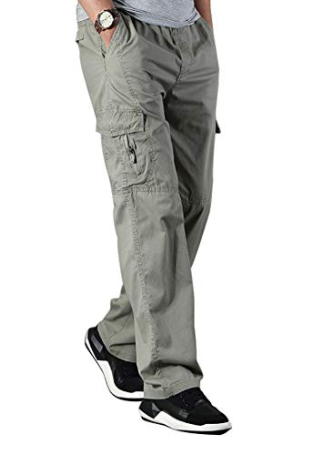 Banana Bucket Men's Full Elastic Waist Loose Fit Lightweight Workwear Pull On Cargo Pants Khaki