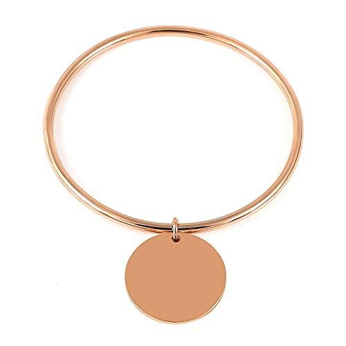 Baoga vrouwen eenvoudige roestvrij staal gladde wafer armband armband 4 kleur bedeltje 10mm diameter hanger anti-allergie armband geschenk-One_56-58mm