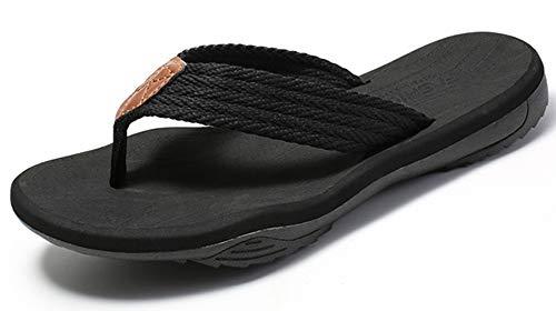 Gaatpot Chanclas para Adulto Mujeres Hombres Verano Sandalias planas Zapatos de Playa y Piscina Plataforma Flip-Flop Negro 38EU=39CN