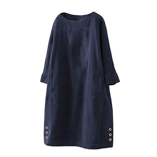 Kleid Damen Langarm Cord Freizeitkleid Herbst Winter,Kanpola Oversize T-Shirt Vintage Cord-Kleid Lang Bluse Boho Shirtkleid Lose Minikleid