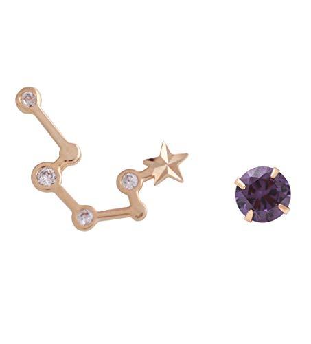 galaxyjewelry Aquarius Wassermann Sternbild Tierkreis Echtes 14-karätiges Gelbgold Ohrstecker Amethyst Ohrringe, G723