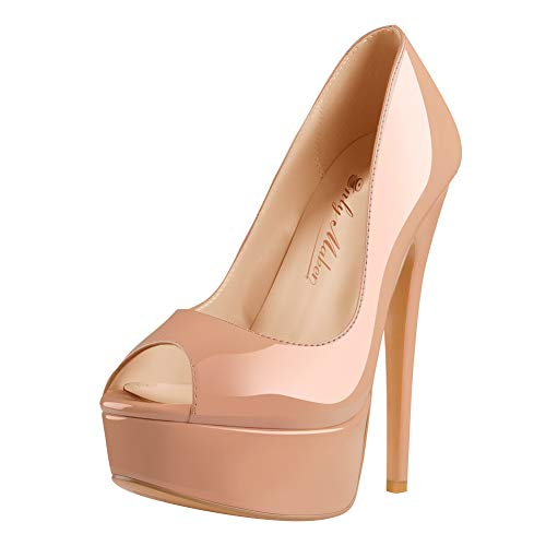 Only maker Damen Peeptoes Plateau Pumps Elegante Stiletto High Heels für Büro Party Taupe 43 EU