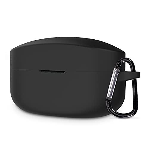 ELYCO Silikon Hülle kompatibel mit Sony WF-1000XM4 Wireless-Kopfhörer, Stoßfeste und Staub Schutzhülle, Case mit Karabiner, Unterstützt Kabelloses Laden Hochwertige Silikonhülle - Schwarz