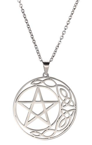 cooltime Stainless Steel Pentacle Pendant Necklace Pentagram Celtic Knot Star Circle Crescent Jewelry (Silver, Sytle 1)