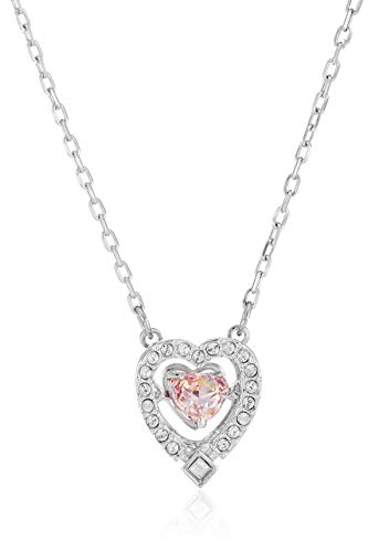 Swarovski Collar Swarovski Sparkling Dance Heart, rosa, Baño de Rodio