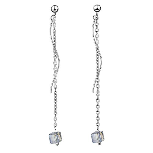 Pendientes de bola de cadena para mujer, largos y ondulados, pendientes de gota
