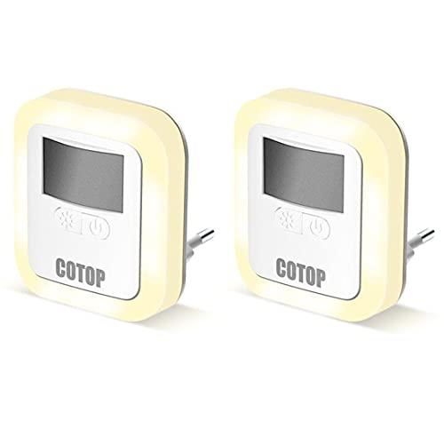 COTOP (2er-Set) LED Nachtlicht Steckdose mit Dämmerungssensor, Nachttischlampe, Dimmbares Energiesparend Baby Licht, Nachtlicht kinder, für Kinderzimmer, Schlafzimmer (Auto/ON/OFF)