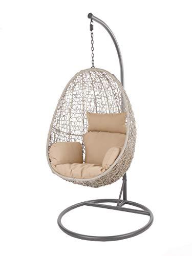 Kideo Swing Chair Indoor & Outdoor, Loungesessel Polyrattan, Hängestuhl, Hängesessel mit Gestell & Kissen (grau/beige)