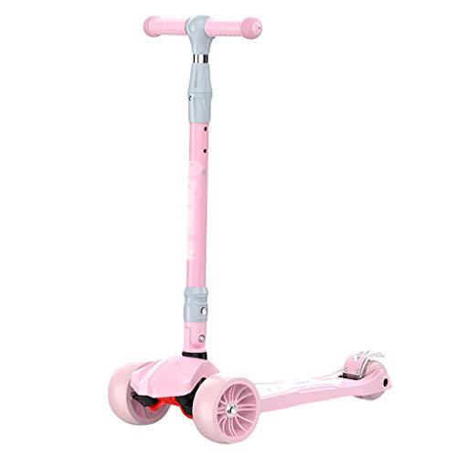 ZHIHUI Scooter Patinete Niño Scooter Ancho Placa de Pie PU Flashing Wheels Scooters Ajustable Altura para Niños de 3 A 16 Años Scooter (Color : Pink)