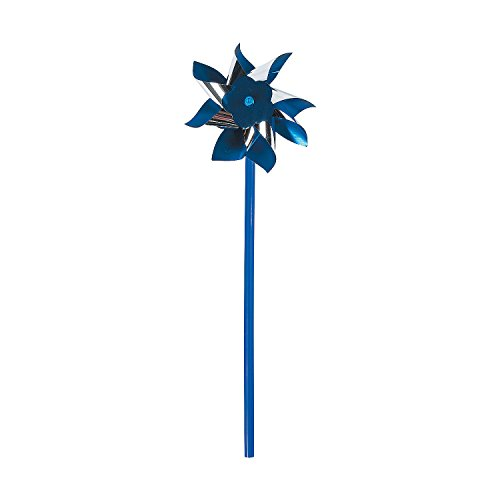 Fun Express Blue and Silver Pinwheels (Bulk Set of 36) Great for Parties and Awareness Decor