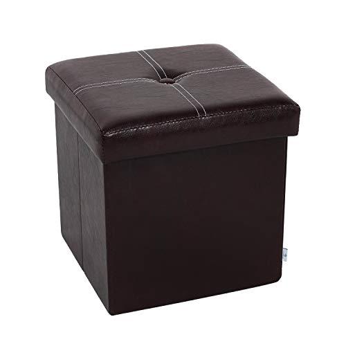 "B FSOBEIIALEO Folding Storage Ottoman, Faux Leather Footrest Seat Coffee Table Toy Chest Kids, Brown 11.8""x11.8""x11.8"""