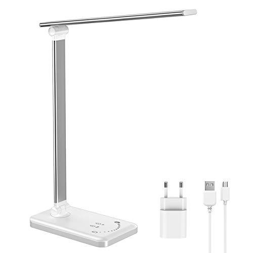 ERAY Lámpara Escritorio LED, Lámpara de Mesa Regulable, 5 Colores de Temperatura, 10 Niveles de Intensidad, Temporizador de 30/60min, Puerto USB, Función de Memoria, Protección para Ojos, Color Blanco