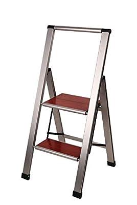 Sorfey Aluminum Folding Step Ladder, Anti Slip, Sturdy, Ultra-Lightweight and Slim Design, Heavy Duty, Silver