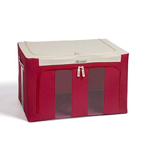Domeilleur Caja de almacenamiento de tela Oxford con marco de acero con cremalleras para ropa, sábanas de cama, manta, soporte para zapatos, contenedor de manta