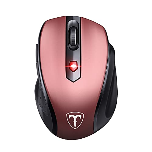 VicTsing Wireless Mouse, 2.4G 2400DPI Ergonomics Cordless Mouse with USB Receiver, Finger Rest, 5 Adjustable DPI Levels, Mobile USB Mice for Chromebook Notebook MacBook Laptop Computer PC, Red (D-09)