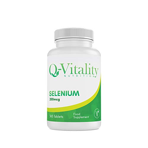Selenium 200mcg. 365 Tablets (1 Year's Supply). Aids Fertility, Immune System, Thyroid, Hair and Nail Health. Best Quality, Organic, Supplement Made in The UK for Q-Vitality Nutrition.