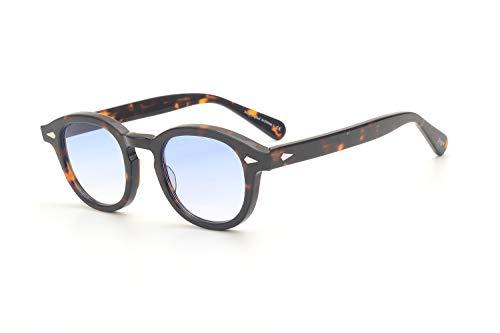 Pirata capitano Johnny Depp stile plastica ovale occhiali da sole moda uomini e donne occhiali da sole di guida dell'annata può fare prescrizione o Gradation occhiali da sole lente (Blu progressivo)