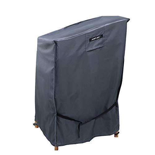 Awnic Schutzhülle für Gartenstühle Stapelstühle Abdeckung Wasserdicht 420D Polyester gitterartiges Gewebe 65x75x85/120cm