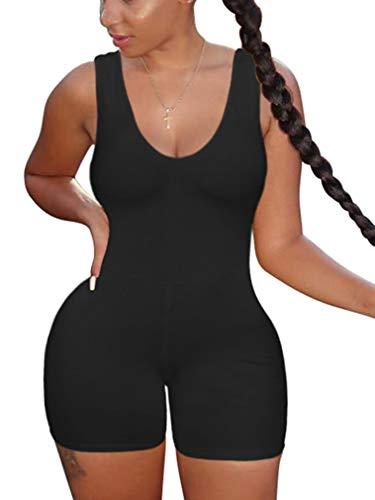 XXTAXN Women's Sexy One Piece Sleeveless V Neck Tank Top Rompers Short Bodycon Jumpsuit Black