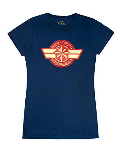 Marvel Manga Corta Armada Capitán Logotipo de Las Mujeres Camiseta