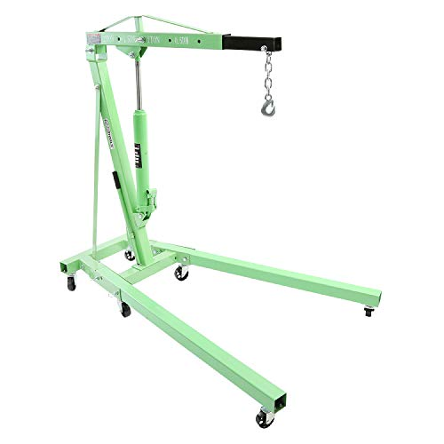 OEMTOOLS 24830 2 Ton Folding Shop Crane, Engine Hoist, 2 Ton Engine Hoist, 2 Ton Engine Crane, Crane Pick Up, Engine Lifting Chain, Mobile Floor Crane