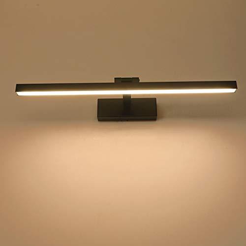 Yafido LED Lampada Specchio 12W Nero Applique da Bagno Bianco Caldo 3000K 1000LM 50CM Bagno Luce per Trucco