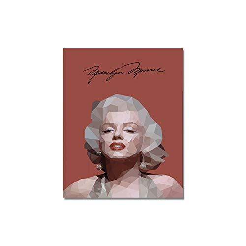 Bunte Marilyn Monroe Leinwand Malerei Porträt Abstrakte Poster und Drucke Leinwand Wandkunst Bilder für Wohnzimmer Wohnkultur A2 50x70CM (kein Rahmen)