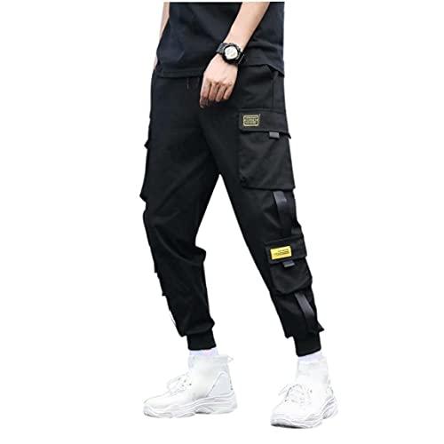 Aiyrchin Pantalones Cargo Ocasional del Basculador de los Hombres Pantalones de Hiphop Punk Pantalones Negro (XXL)