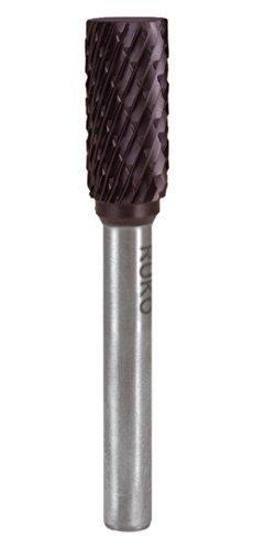Ruko 116019TC Fresas metal duro TiCN forma A - ZYA cilíndrica con dentado frontal (16 x 65 mm), Negro, 16 mm